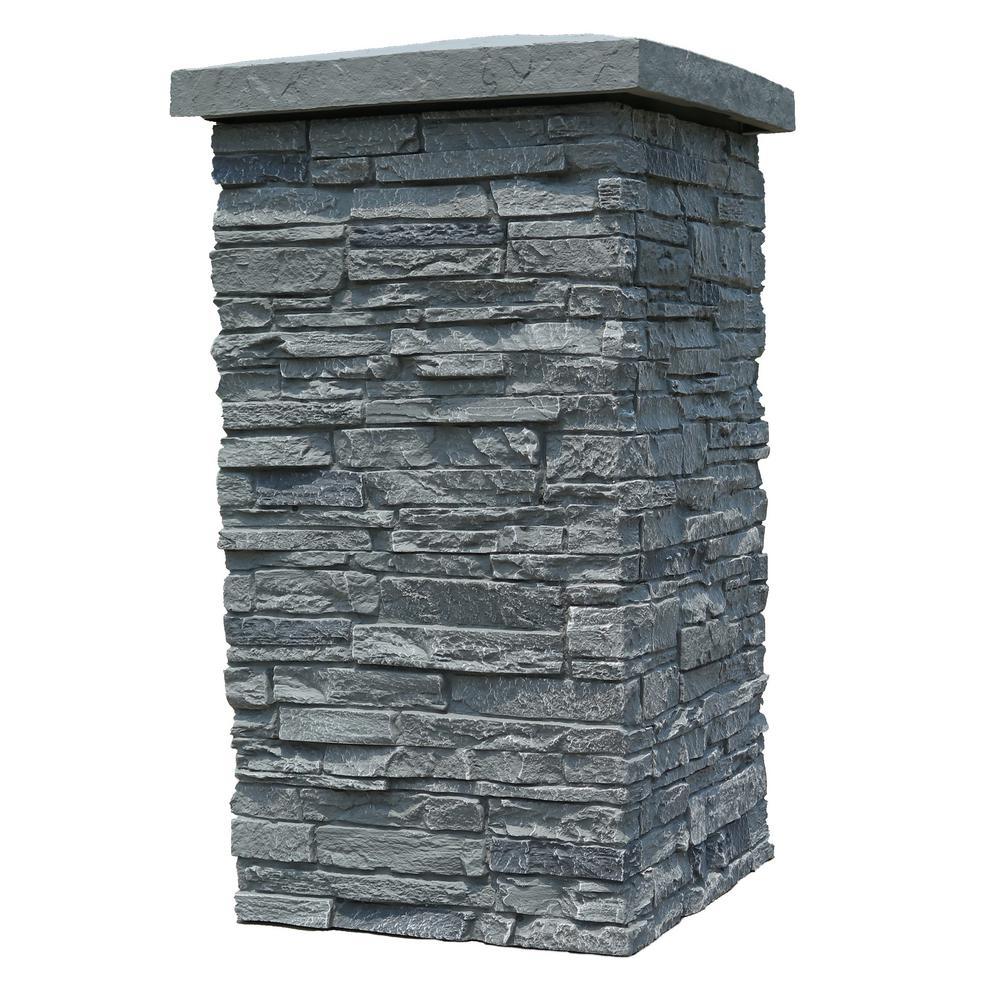 NextStone Slatestone Rocky Mountain Graphite 30 in. x 16 in. Faux Polyurethane Stone Column Wrap (4-Piece)