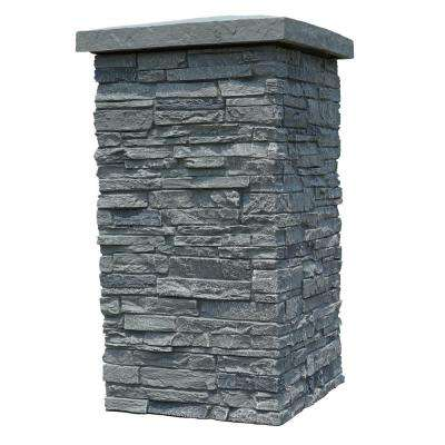 Slatestone Rocky Mountain Graphite 30 in. x 16 in. Faux Polyurethane Stone Column Wrap (4-Piece)
