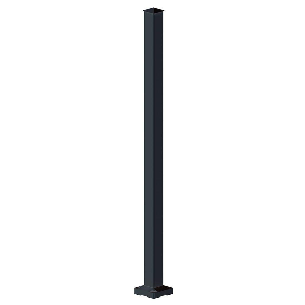 Peak Aluminum Railing 2 in. x 2 in. x 42 in. Black Aluminum Stair Post