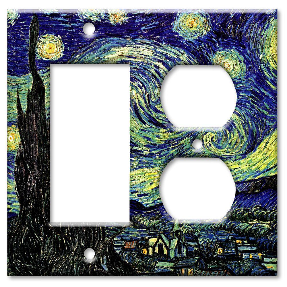 Art Plates Starry Night 2 Gang Rocker/Outlet Combo Wall Plate