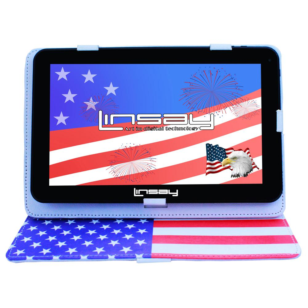 "Linsay 10.1"" New Tablet Quad Core 16 Gb Android 6.0 Bundle with Usa Style Leather Case"