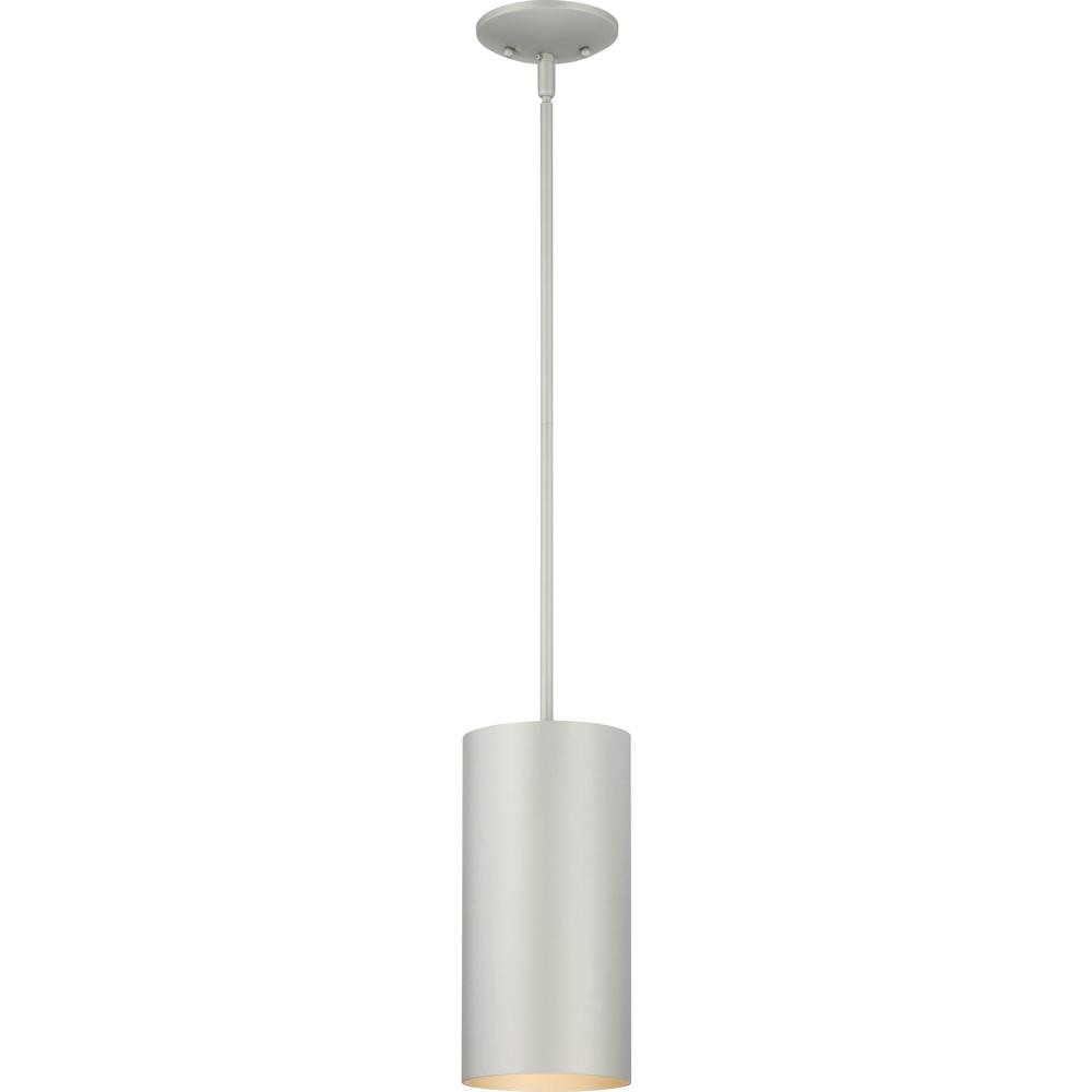Volume Lighting Mini 1 Light Silver Gray Aluminum Integrated Led Indoor Outdoor Cylinder Pendant Light 9606 20 The Home Depot