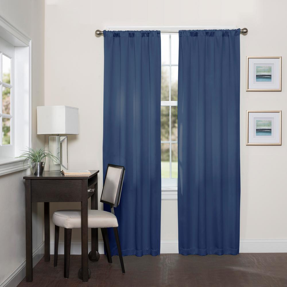 Room Darknening Indigo Smooth Polyester Rod Pocket Curtain (1-Pair)
