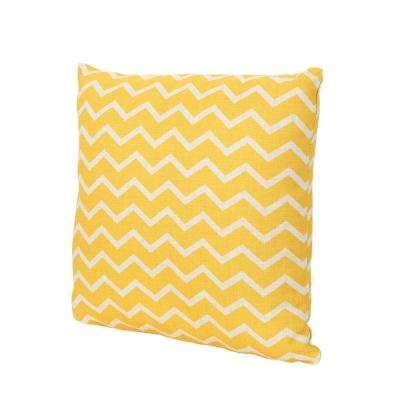 Yellow Chevron-Patterned Square Outdoor Throw Pillow