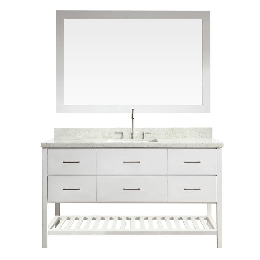 Shakespeare 61 in. Bath Vanity in White with Quartz Vanity Top