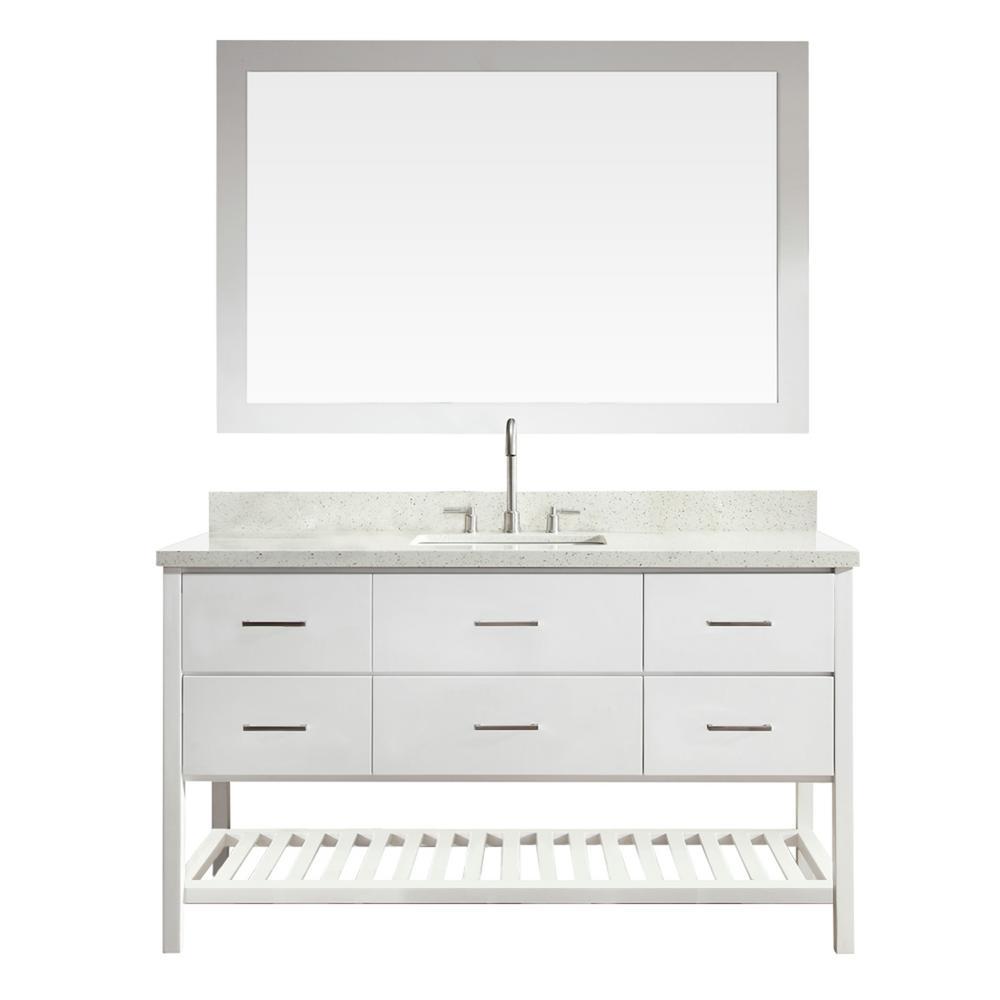 Bath Vanity White Quartz Vanity Top White Basin Mirror