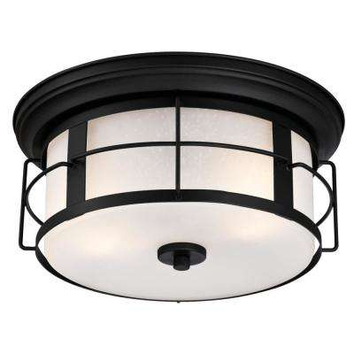 Orwell 2-Light Textured Black Outdoor Flush Mount