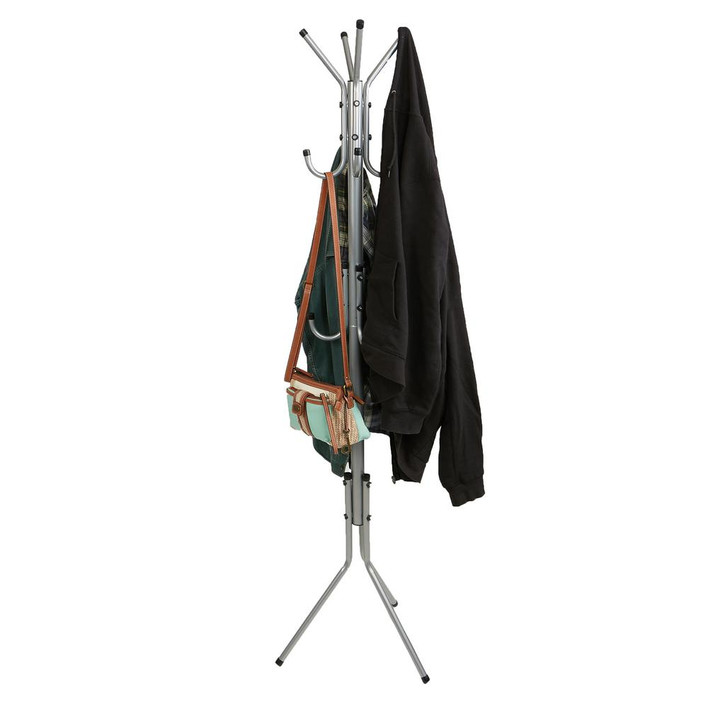 Mind Reader Silver 11-Hook Metal Coat, Jacket, Purse, Scarf Rack A classic design in silver finish, the Mind Reader 'Hang' coat rack is sure to dress up any home. It is perfect to add a touch of style to your entrance way, bedroom, home, office, or waiting rooms. Can hold coats, jackets, hats, scarves, purse, or accessories
