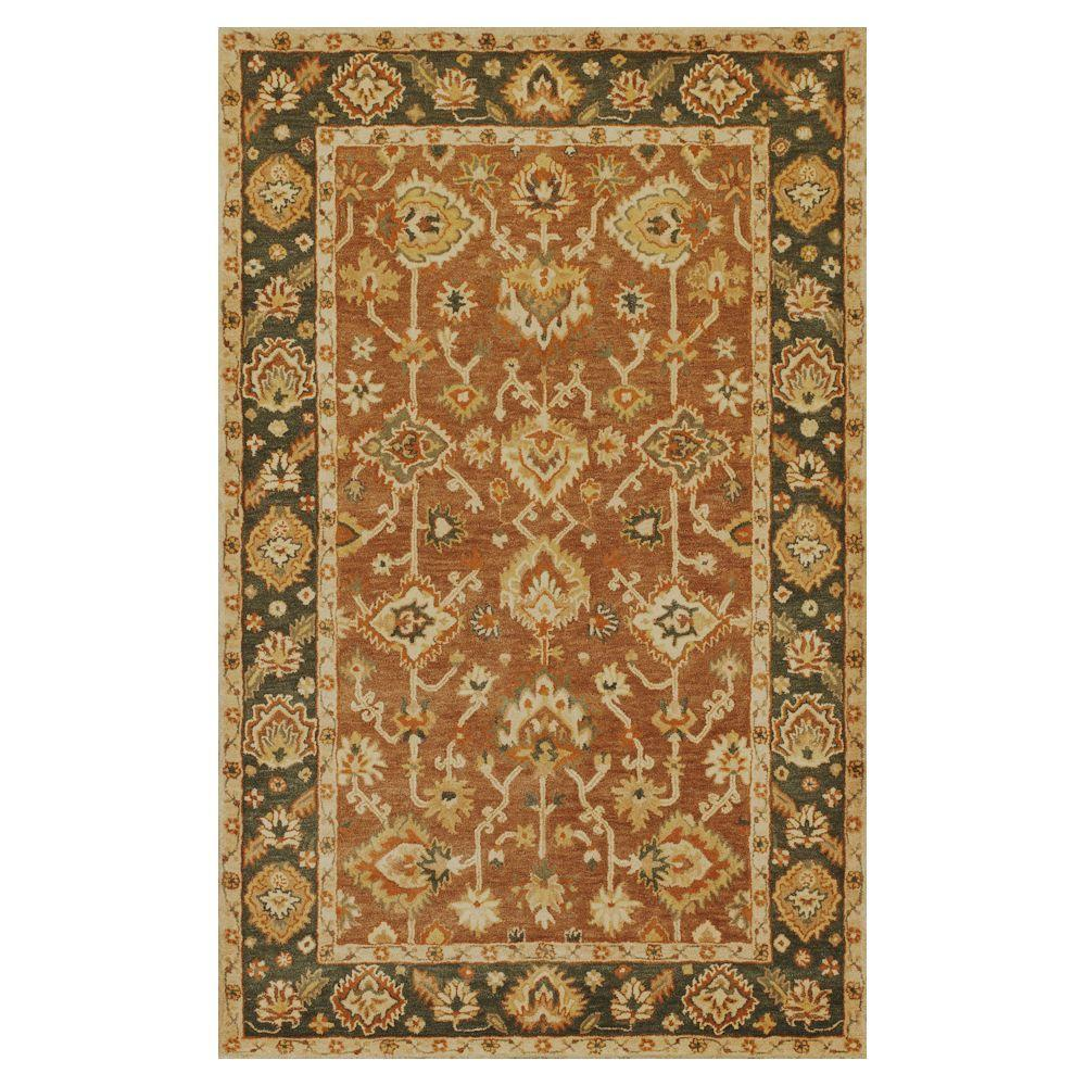 Kas Rugs Classic Oushak Coffee/Green 8 ft. x 10 ft. 6 in. Area Rug