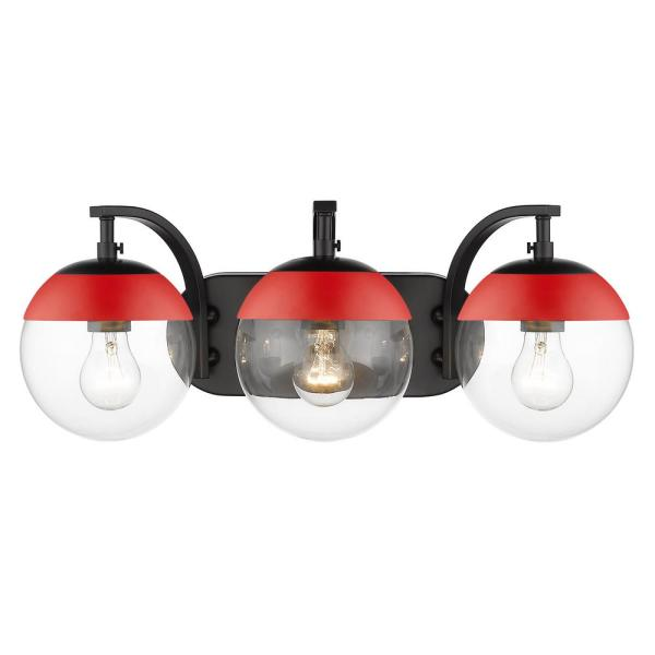 Dixon 12 in. 3-Light Black with Clear Glass and Red Cap Bath Vanity Light