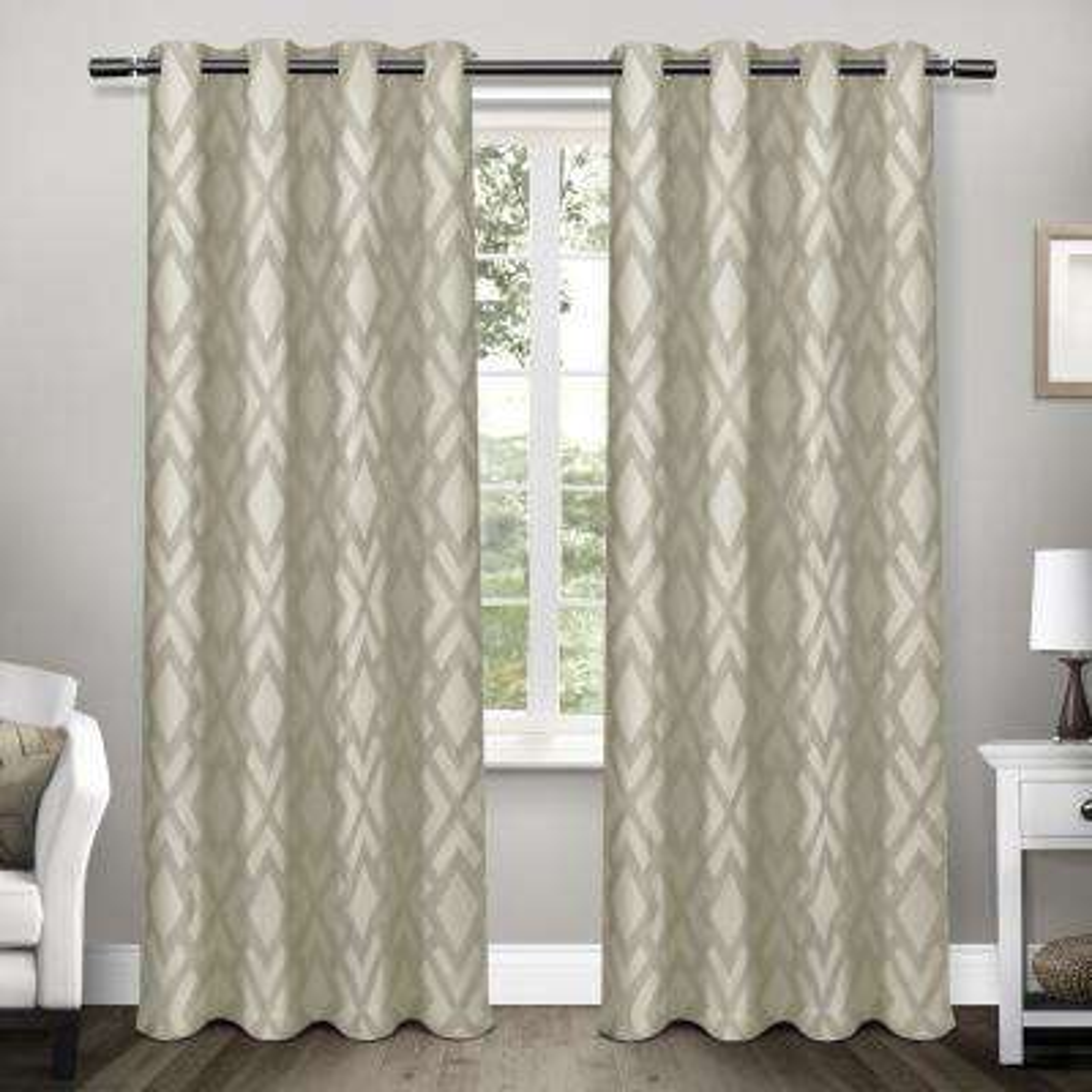 Easton Taupe Jacquard Blackout Grommet Top Window Curtain