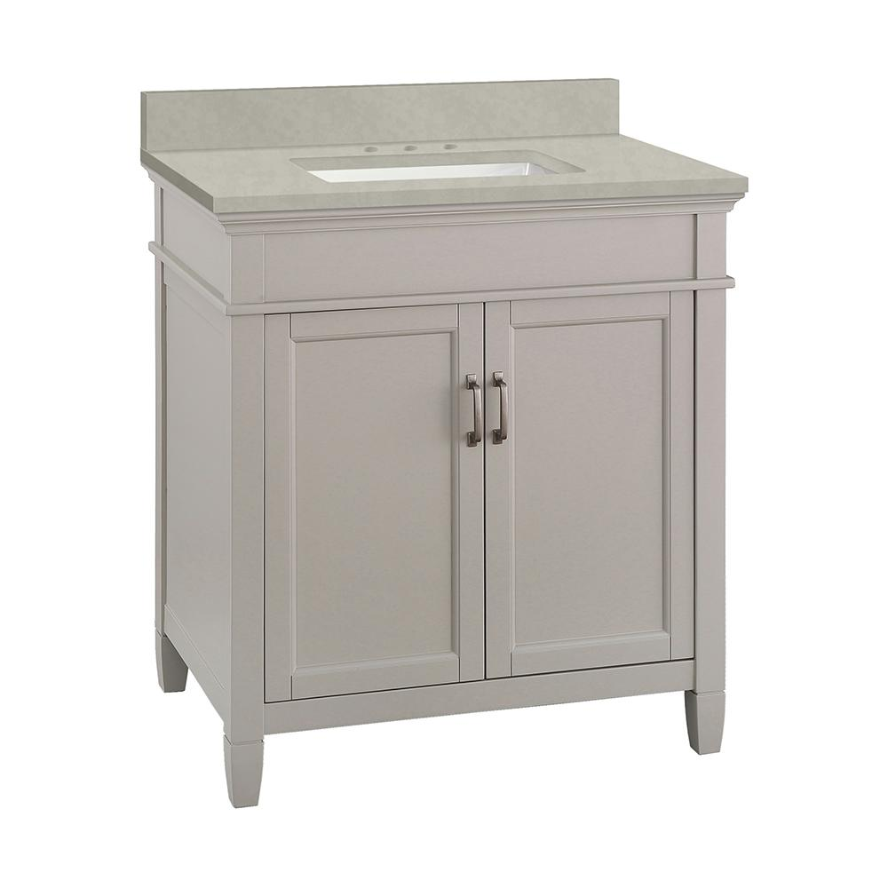 Home Decorators Collection Ashburn 31 in. W x 22 in. D Vanity Cabinet in Grey with Engineered Marble Vanity Top in Dunescape with White Sink