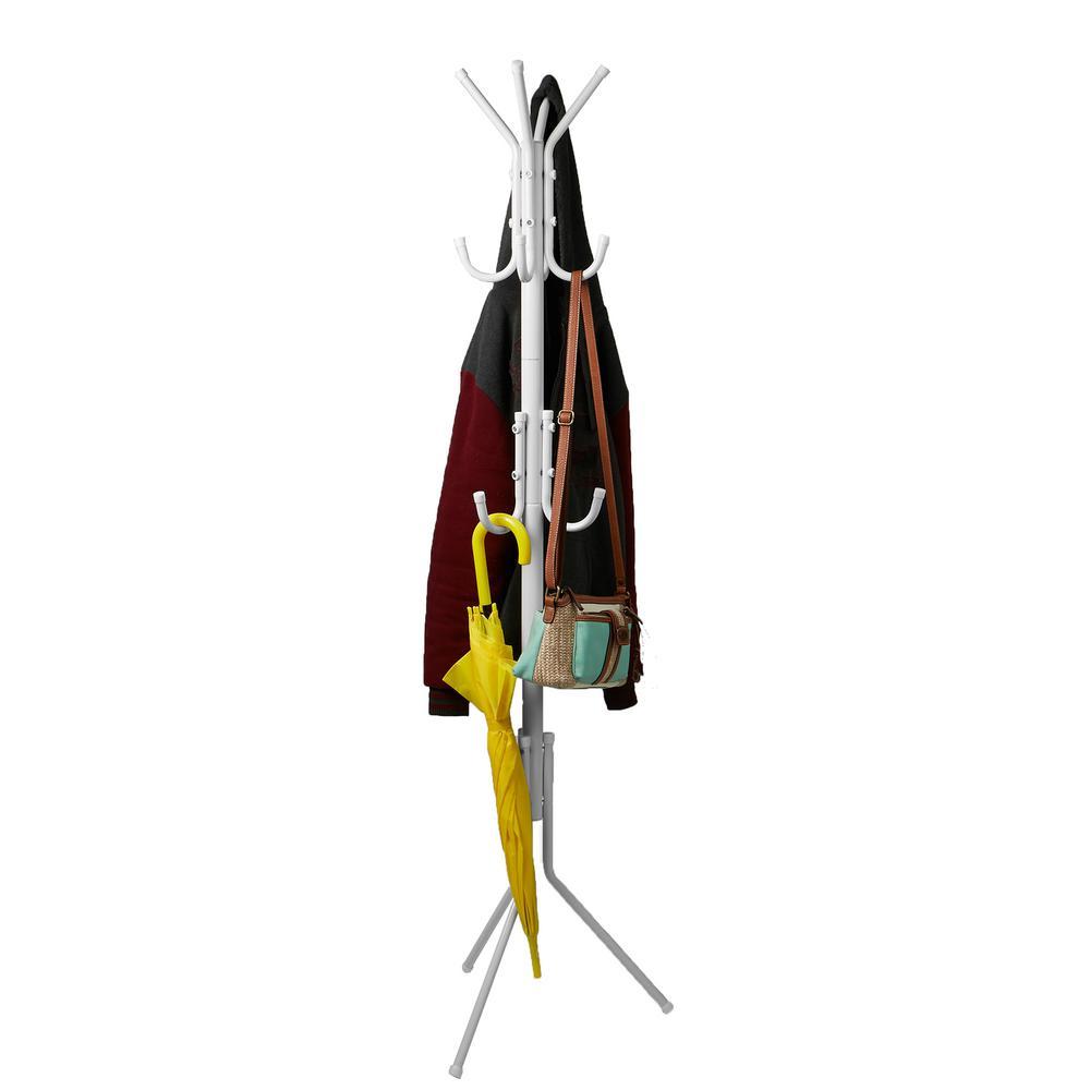 White 11-Hook Metal Coat, Jacket, Purse, Scarf Rack