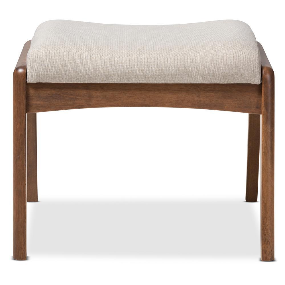 Roxy Mid-Century Beige Fabric Upholstered Ottoman