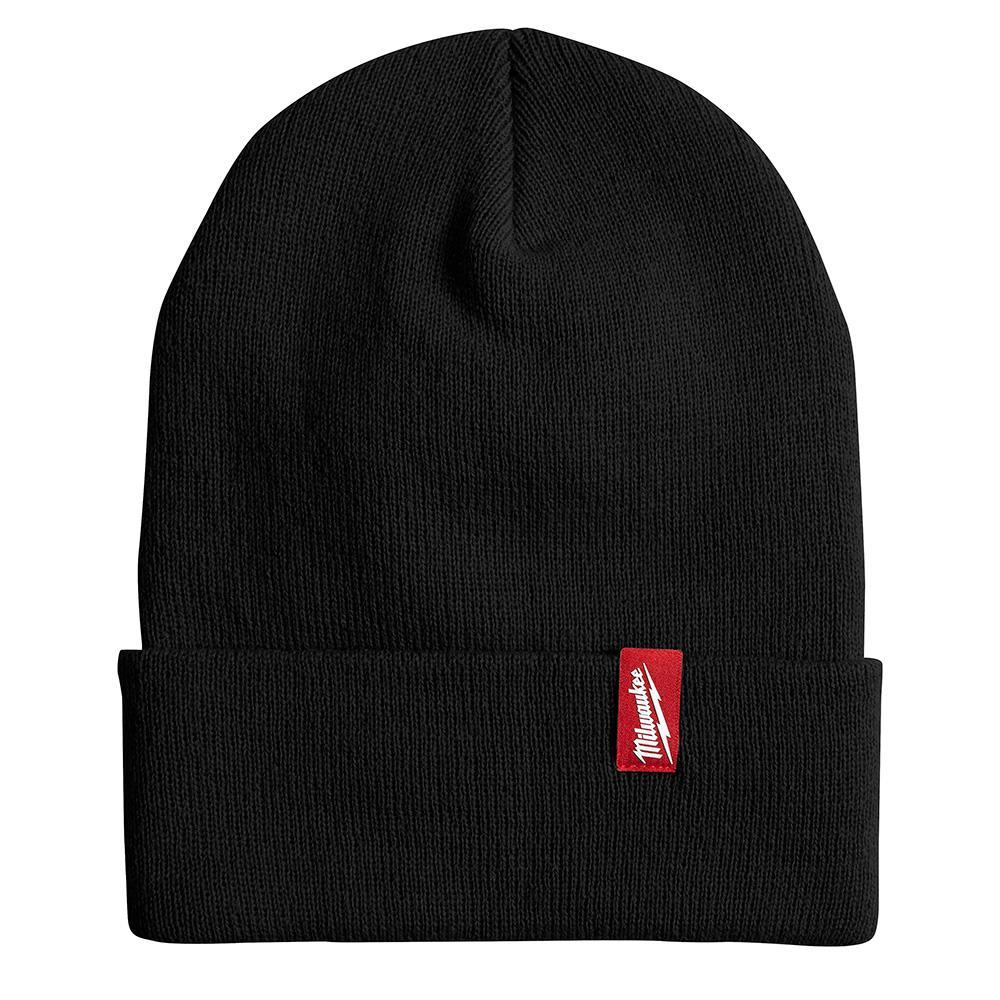Men's Black Acrylic Cuffed Beanie Hat