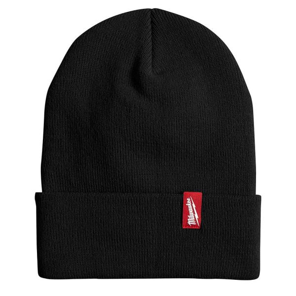 Men's Black Acrylic Cuffed Beanie Hat