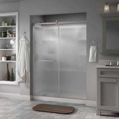 Simplicity 60 x 71 in. Frameless Contemporary Sliding Shower Door in Nickel with Rain Glass
