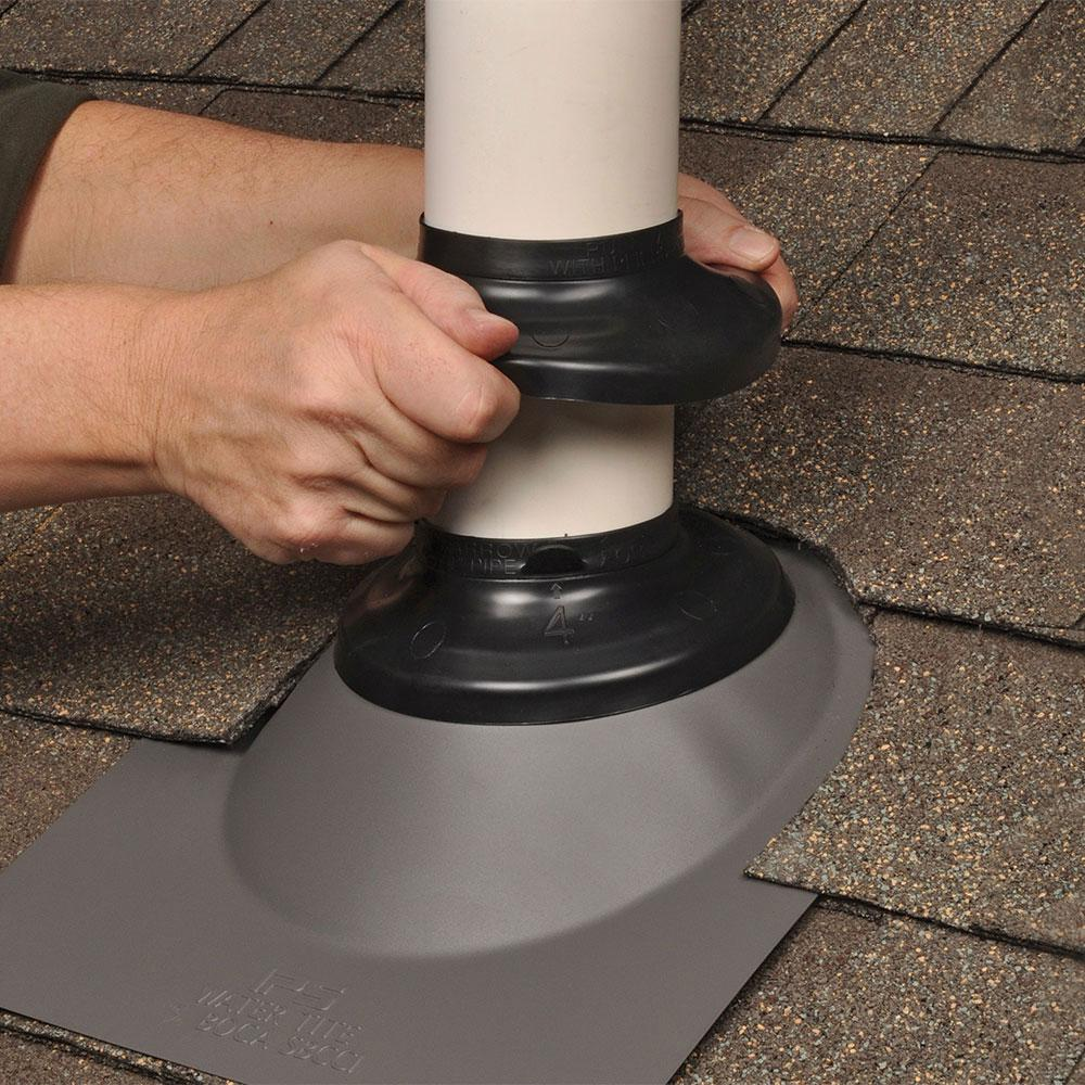 IPS 6 25 in  x 6 25 in  PVC Base Vent Pipe Flashing with Adjustable Rubber  Collar in Black