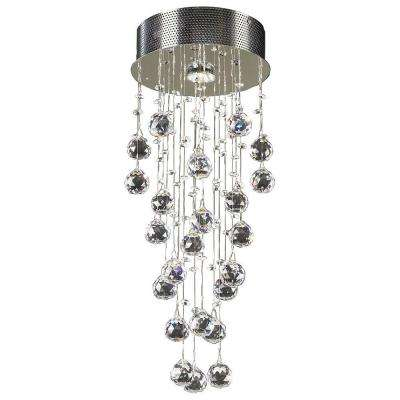 1-Light Polished Chrome Ceiling Semi-Flush Mount Light with Clear Glass