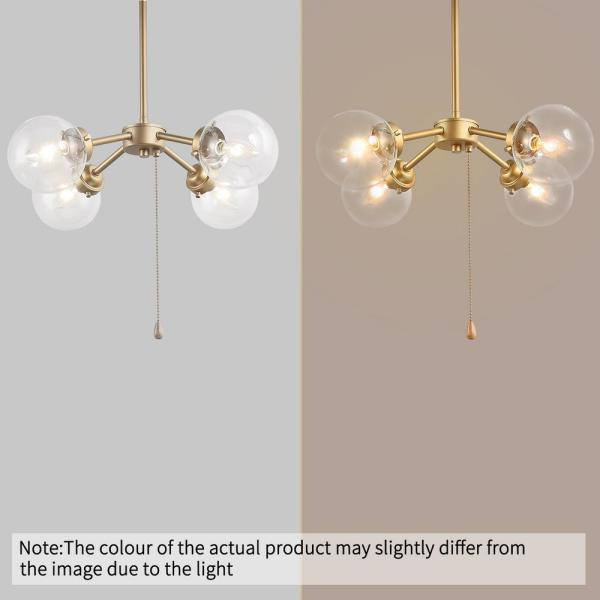 Uolfin Ismo Modern Gold Chandelier Pendant Light 4 Light Sputnik Ceiling Light With Pull Chain And Glass Globe Shades Fzy6rrhd23571a6 The Home Depot