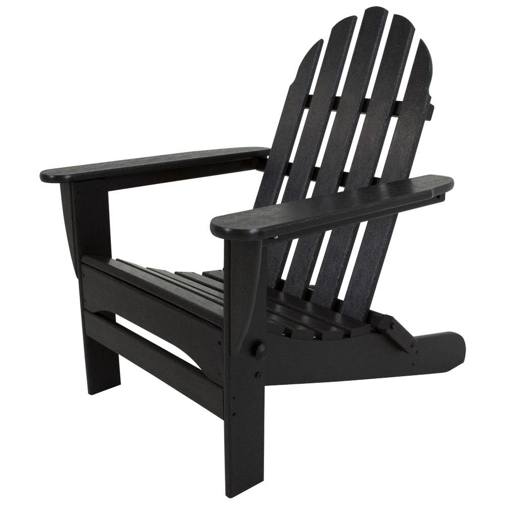 Good POLYWOOD Classic Black Plastic Patio Adirondack Chair
