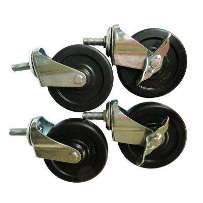 ES-Casters 4 in. x 1 in. Casters Kit for Excel NSF Wire Shelving Rack in Black (Set of 4)