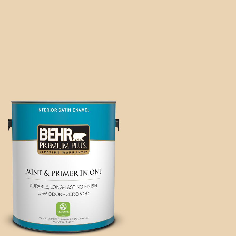 BEHR Premium Plus 1-gal. #S300-2 Powdered Gold Satin Enamel Interior Paint