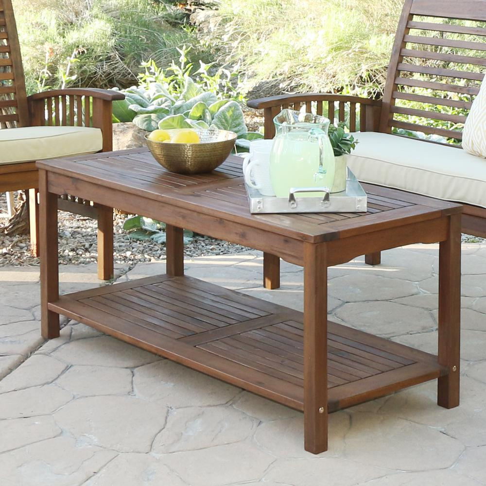 Outdoor Coffee Table: Walker Edison Furniture Company Boardwalk Dark Brown