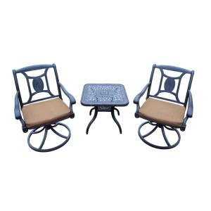 3-Piece Metal Outdoor Bistro Set with Sunbrella Brown Cushions by