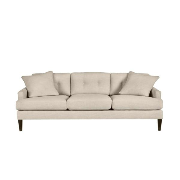 Pembrook Cambric Biscuit Beige Straight Standard Sofa with Tufting for 3 (86.5 in. W x 33.5 in. H)