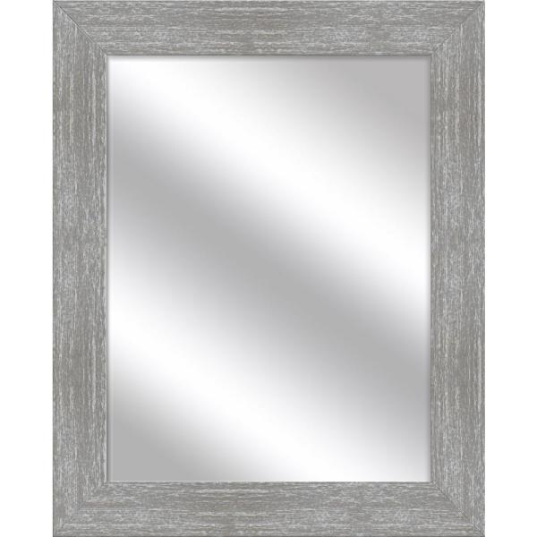 Medium Rectangle Gray Wash Art Deco Mirror (31.5 in. H x 25.5 in. W)