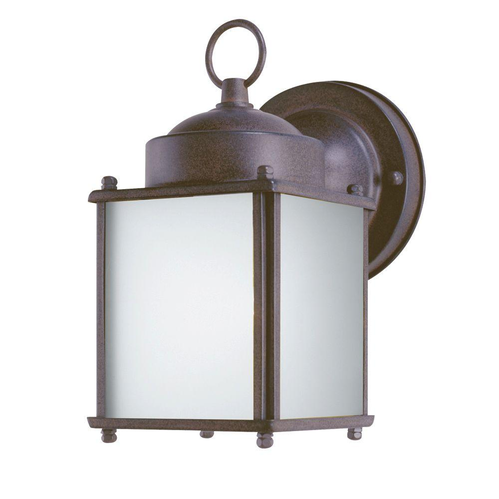 Westinghouse 1 Light Sienna Steel Outdoor Wall Lantern With Dusk To Dawn Sensor And Frosted Gl Panels 6488300 The Home Depot