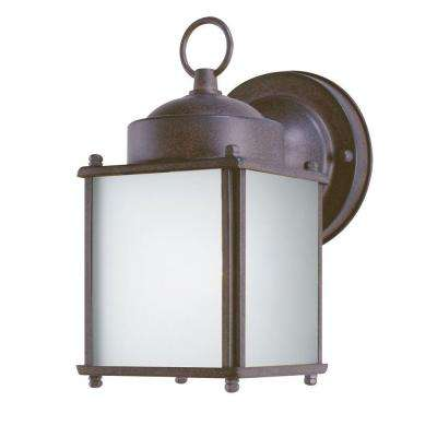 1-Light Sienna Steel Outdoor Wall Lantern with Dusk to Dawn Sensor and Frosted Glass Panels