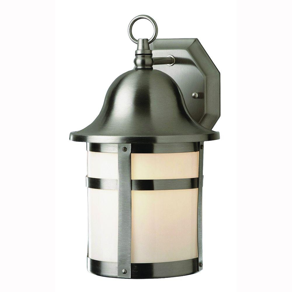 Bell Cap 2-Light Outdoor Brushed Nickel Coach Lantern with Frosted Glass