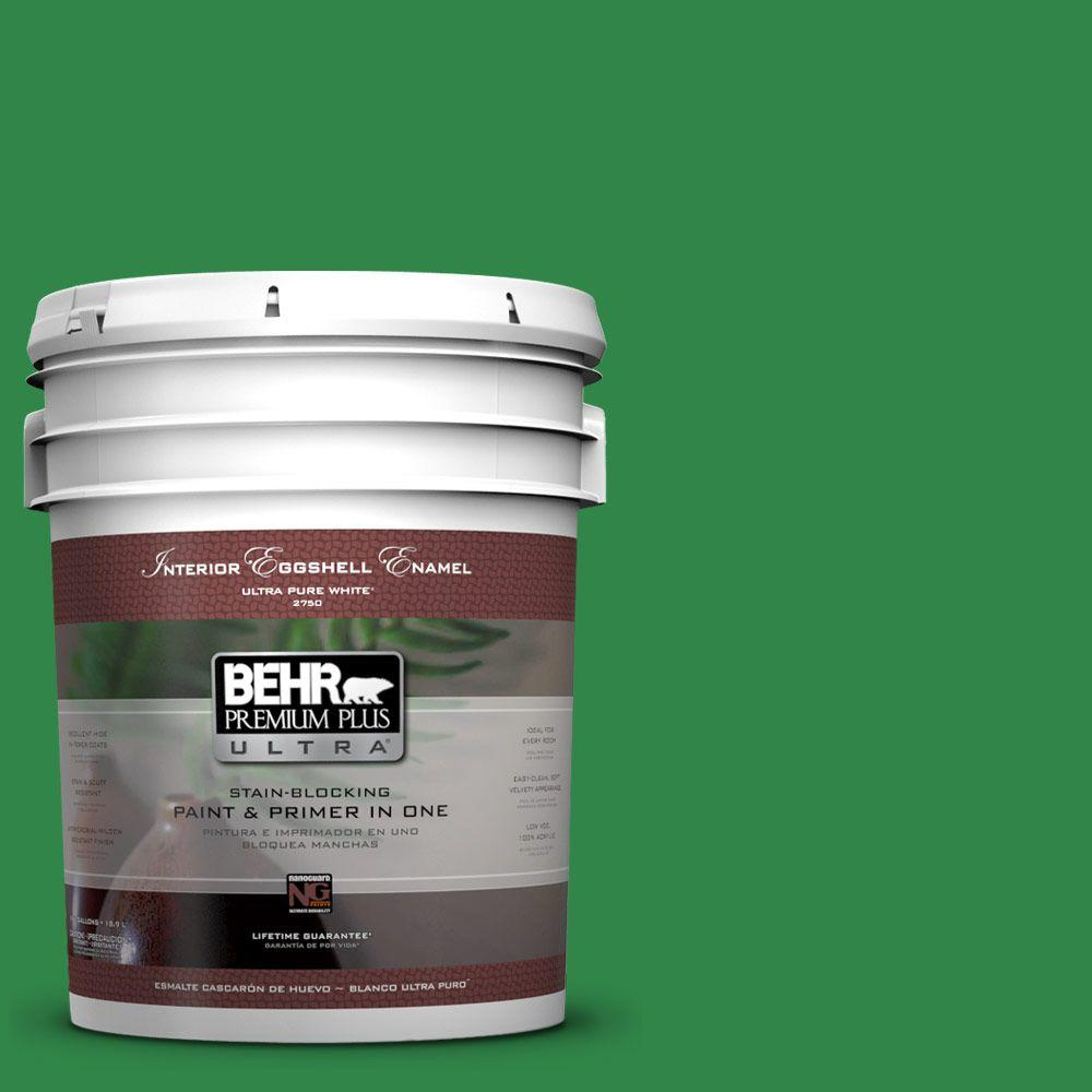 5 gal. #450B-7 Green Grass Eggshell Enamel Interior Paint and Primer