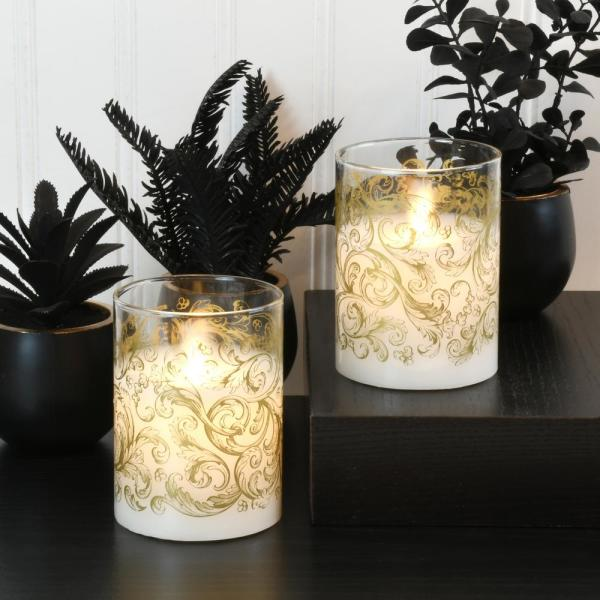 Gold Baroque Swirl Battery Operated LED Glass Candles with Moving Flame (Set of 2)