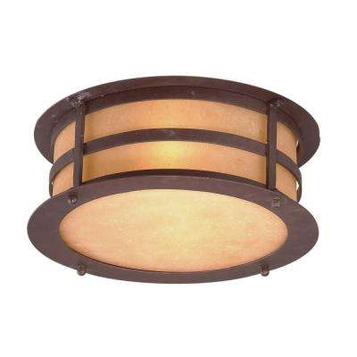 Aspen 2-Light Natural Bronze Outdoor Flushmount