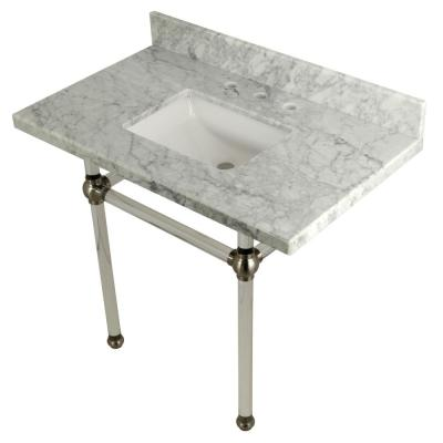 Square-Sink Washstand 36 in. Console Table in Carrara Marble with Acrylic Legs in Brushed Nickel