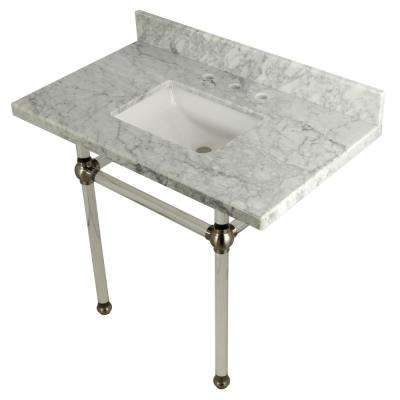 Square-Sink Washstand 36 in. Console Table in Carrara Marble with Acrylic Legs in Satin Nickel