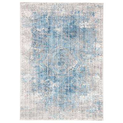 Ostara Gray Blue 7 ft. 10 in. x 10 ft. Medallion Rectangle Rug