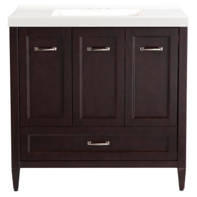 Claxby 37 in. W x 22 in. D Vanity in Chocolate with Cultured Marble Vanity Top in White with White Sink
