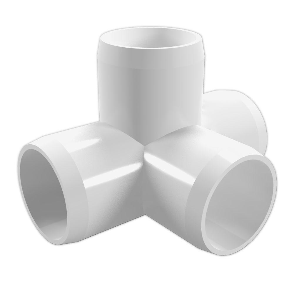 Formufit 3 4 in furniture grade pvc 4 way tee in white 8 for Furniture grade pvc