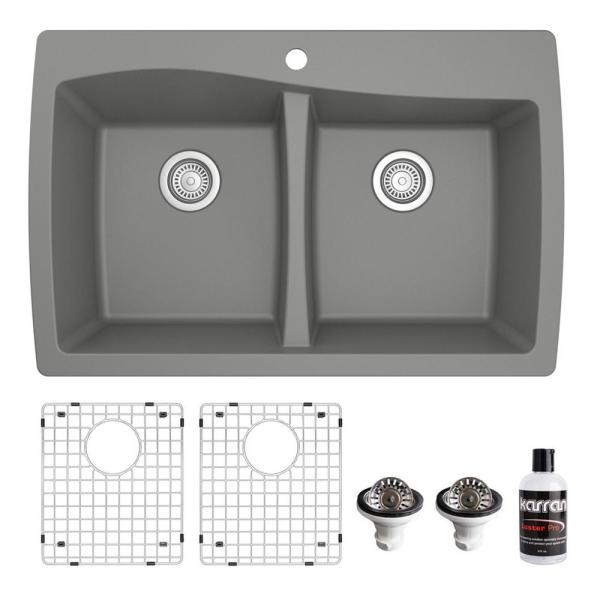 QT-720 Top Mount Quartz Composite 33 in. Double Bowl Drop-In 50/50 Kitchen Sink with Grids & Basket Strainers in Grey