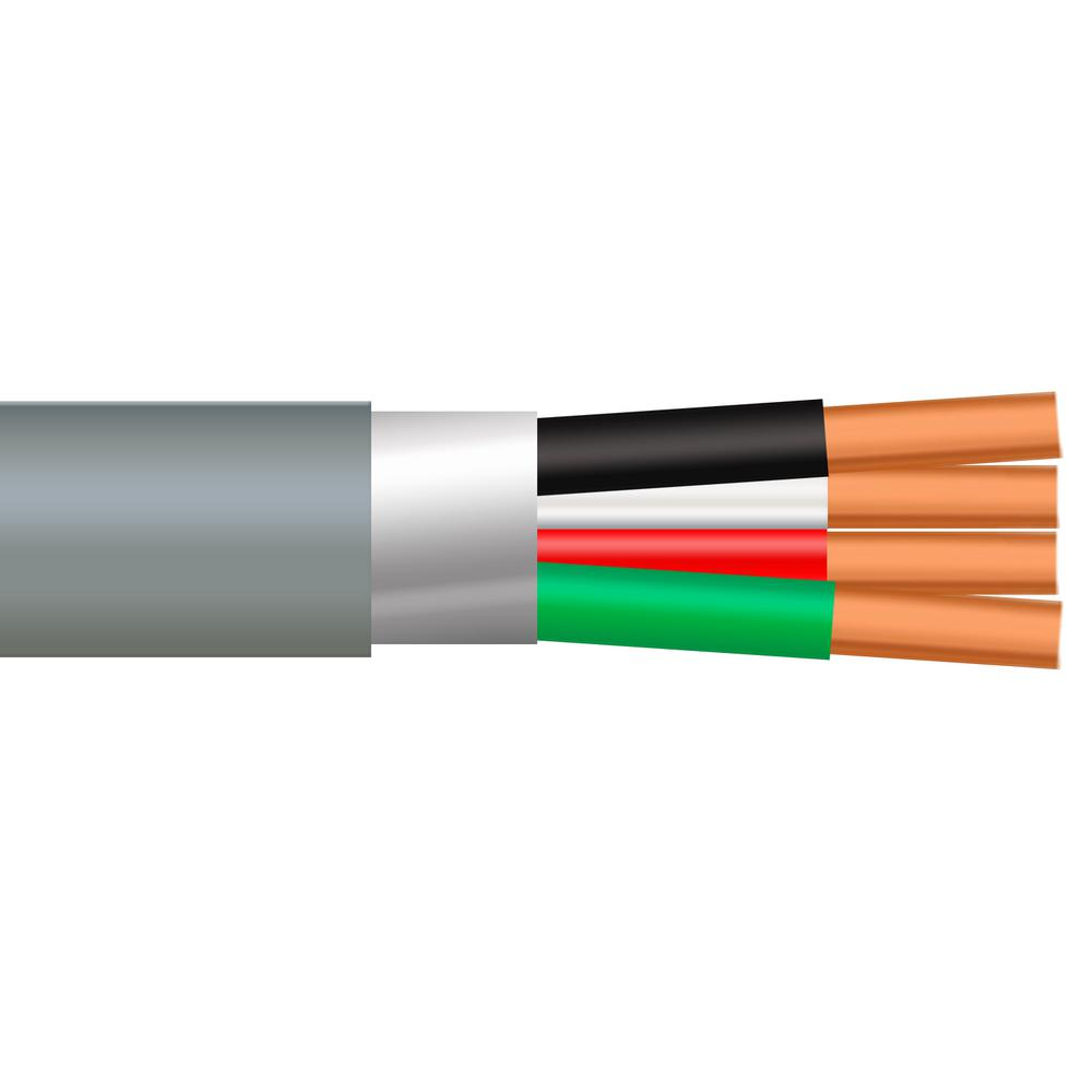 100 ft. 18/4 Solid Shielded CMR/CL3R Gray Security Cable