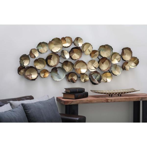 62 In X 22 In Modern Abstract Interlocking Iron Disc Wall Decor