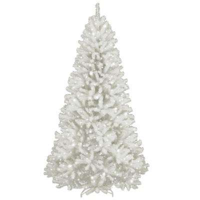 7 ft. North Valley White Spruce Hinged Artificial Christmas Tree with Glitter and 550 Clear Lights