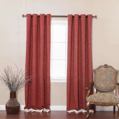 84 in. L Burgundy Bottom Bordered Textured Faux Linen Curtain (2-Pack)