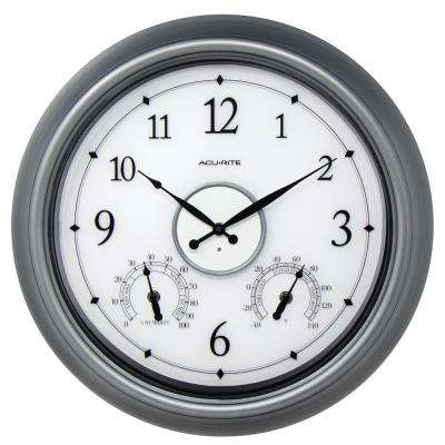 18 in. Pewter LED Illuminated Outdoor Wall Clock with Thermometer and Hygrometer