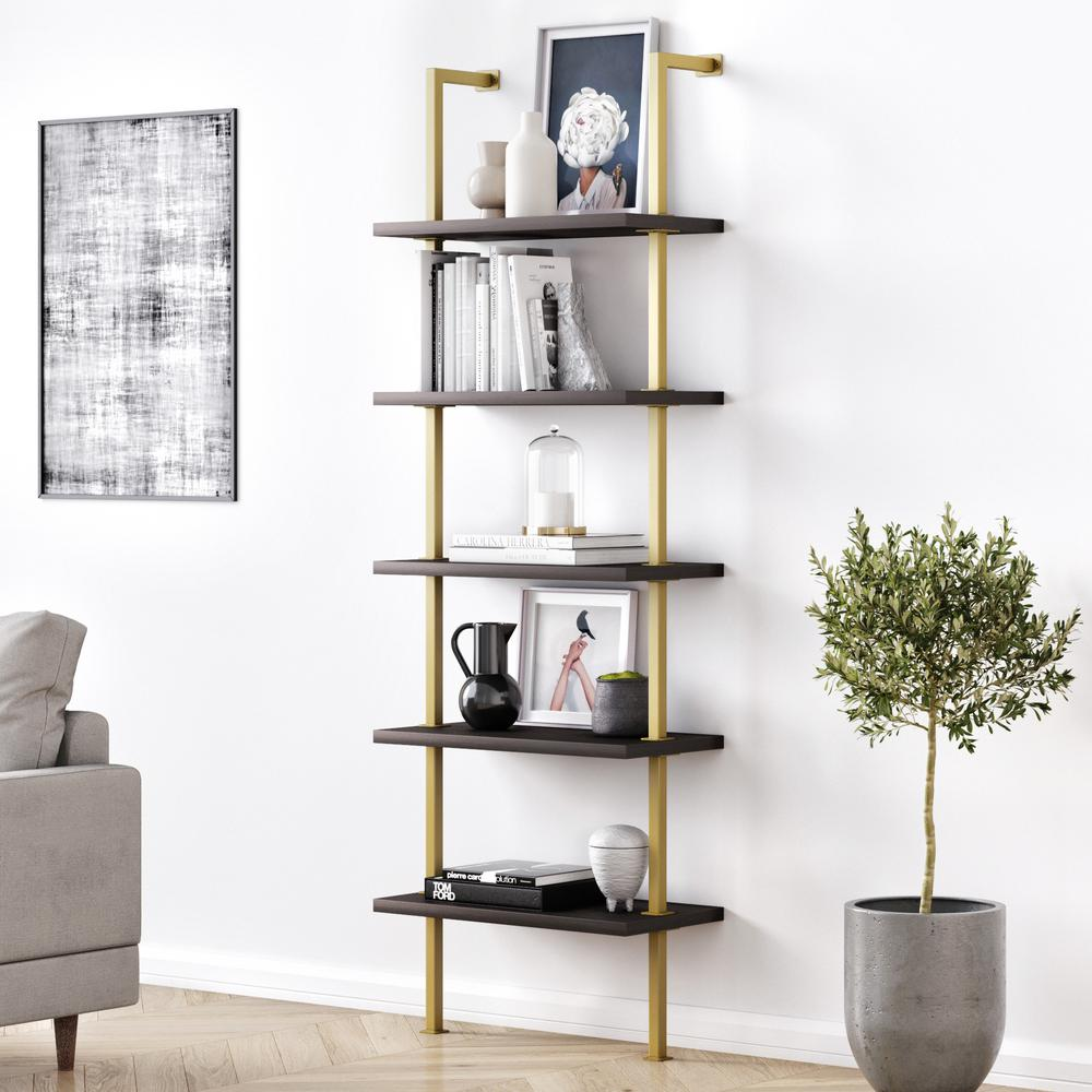 Theo 73 in. Dark Oak Wood 5-Shelf Wall Mount Ladder Bookcase with Pale Gold Metal Frame