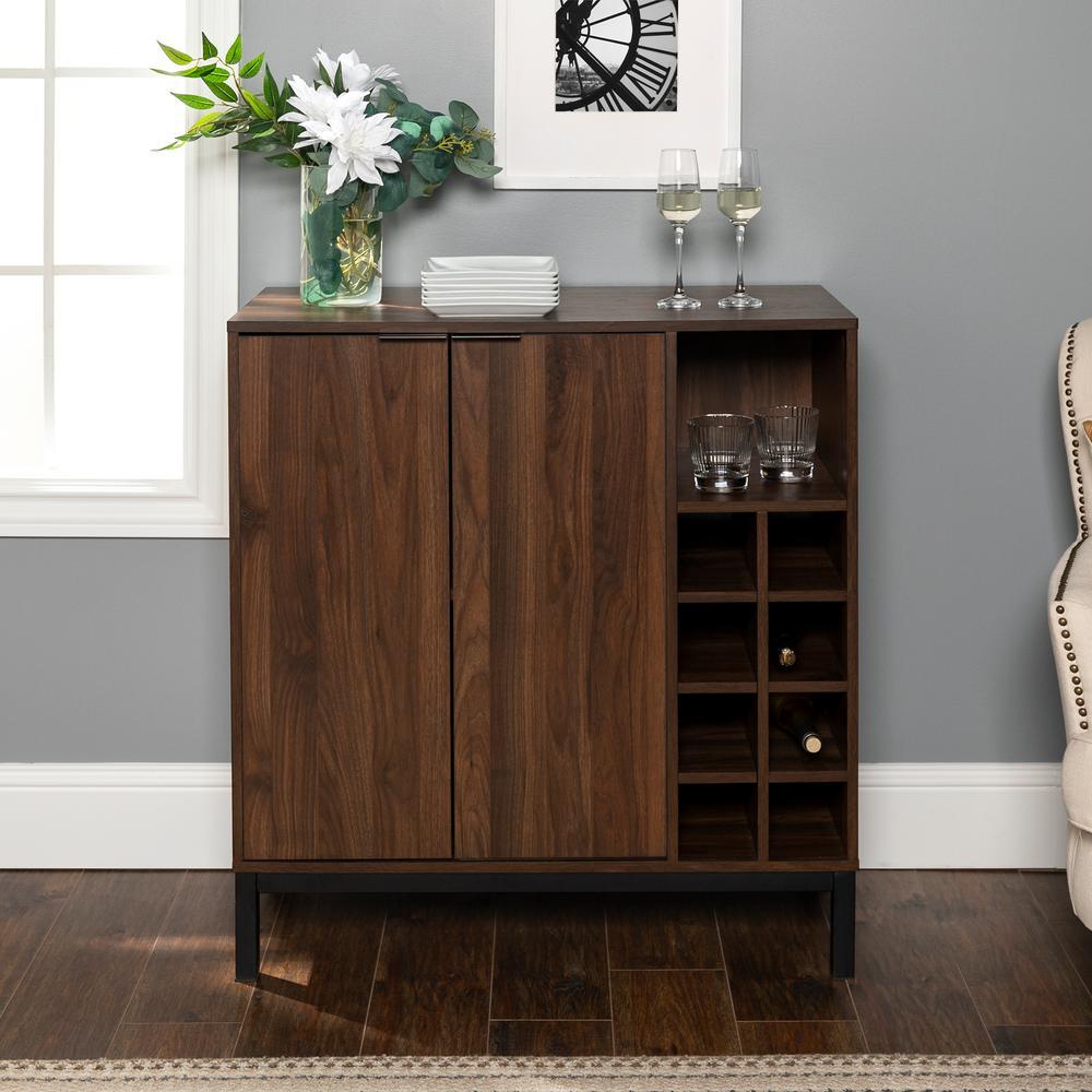 Dark Walnut Kitchen Cabinets: Walker Edison Furniture Company Dark Walnut Bar Cabinet